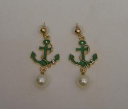 Womens Earrings Gold Green Anchors Fashion Rhinestones Drop Dangle MDL P... - $9.97