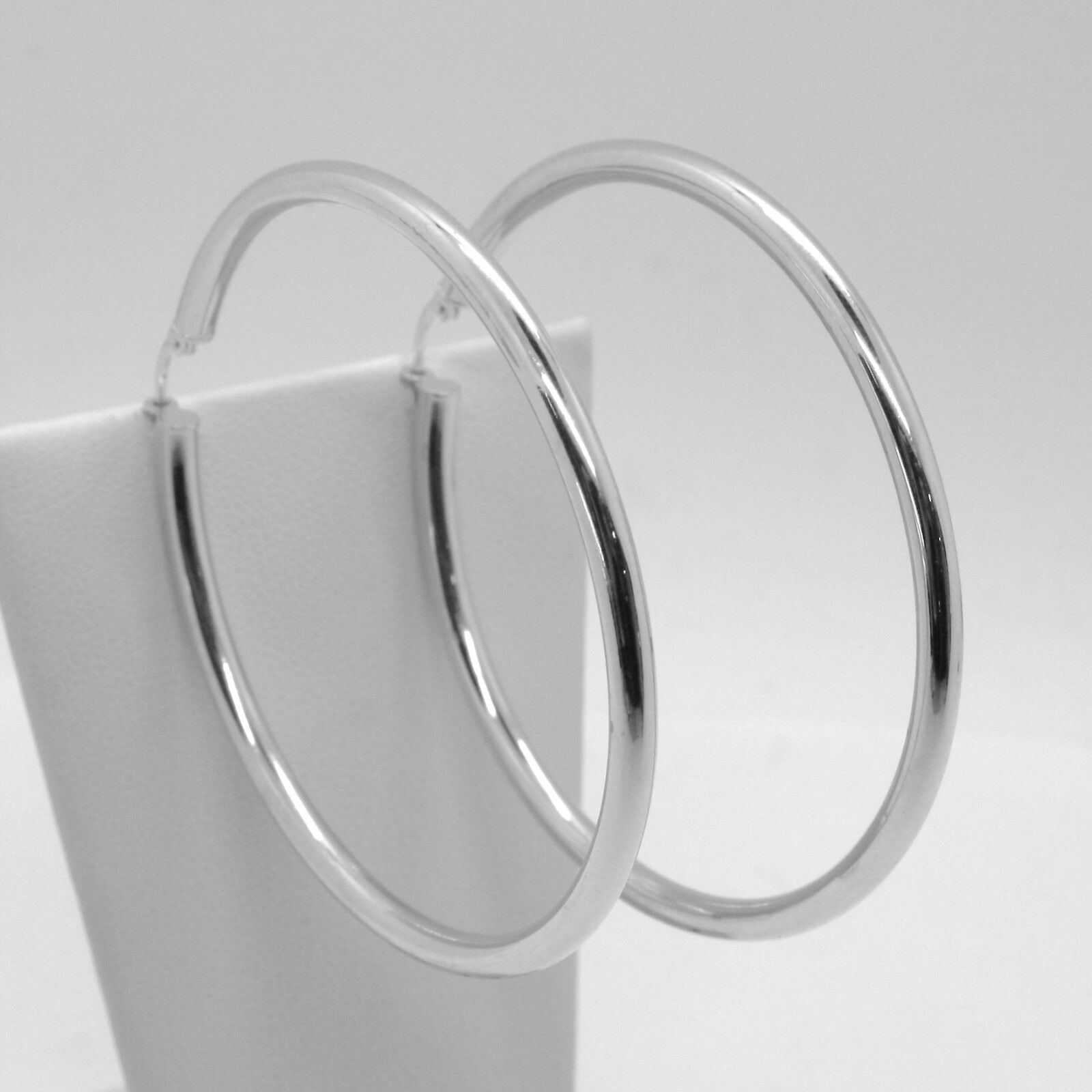 18K WHITE GOLD ROUND CIRCLE EARRINGS DIAMETER 50 MM, WIDTH 3 MM, MADE IN ITALY