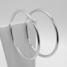 18K WHITE GOLD ROUND CIRCLE EARRINGS DIAMETER 50 MM, WIDTH 3 MM, MADE IN ITALY image 1