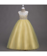 Flared Tulle Lace Yellow Color Floor Length Party Gown for Girls - $48.99+