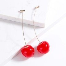 Trendy Girl Brincos Cherry Red Earrings for Women Stud Earring for Women... - $9.76
