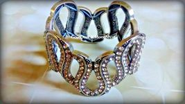 Avon Glamorous Life stretch bracelet antique silver w lots of crystals ~ RARE ~ image 3