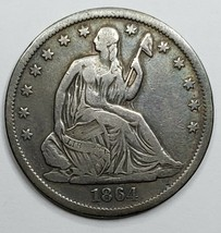 1864S Seated Liberty US Silver Half Dollar Coin Lot 519-129