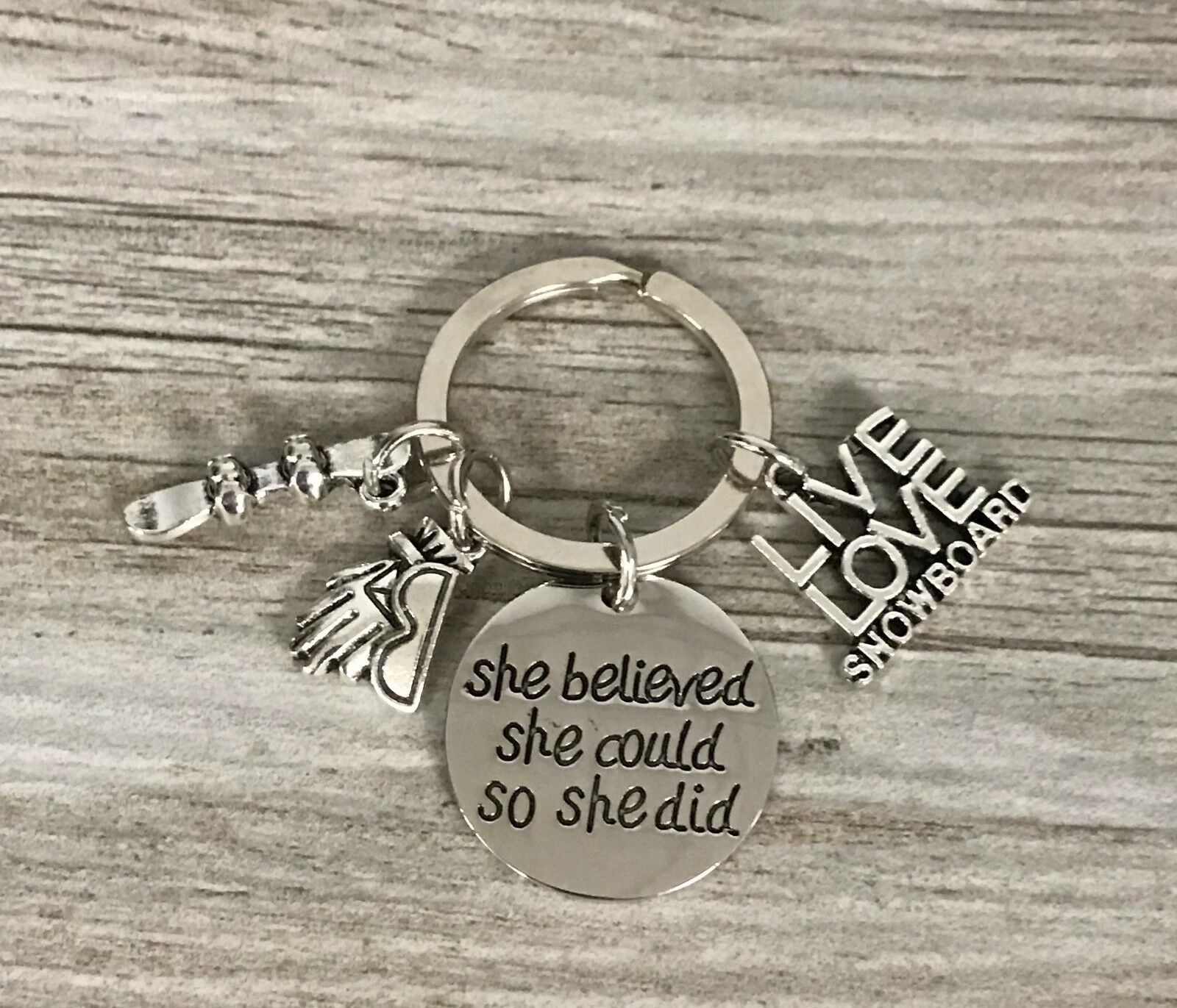 Primary image for Snowboarding She Believed She Could So She Did Keychain, Snowboarding Gift