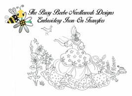 Crinoline Ladies Lady Garden Gal Belle Embroidery Iron-On Transfer #7 - $9.89