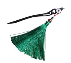 Classical Style Wooden Hairpin Clothing Accessories, Green Tassel