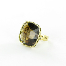 Roberto Coin Ipanema Ring Square Smokey Quartz 18k Yellow Gold Sz 6.5 Ne... - $1,188.25