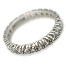 18K WHITE GOLD ETERNITY BAND RING, WHITE CUBIC ZIRCONIA, THICKNESS 3 MM image 3