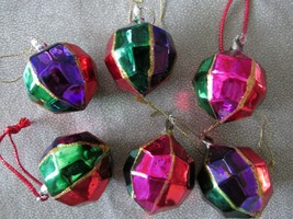 "6 Multi Color ""Faceted"" Glass Christmas Ball Ornaments With Glitter - $13.85"