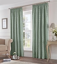 DAMASK JACQUARD DUCK EGG BLUE LINED PENCIL PLEAT CURTAINS 7 SIZES - $63.13