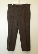 Banana Republic Slacks 39x30 Tag 38x32 Brown Pinstriped Cuffed Adj Waist Wool - $22.13