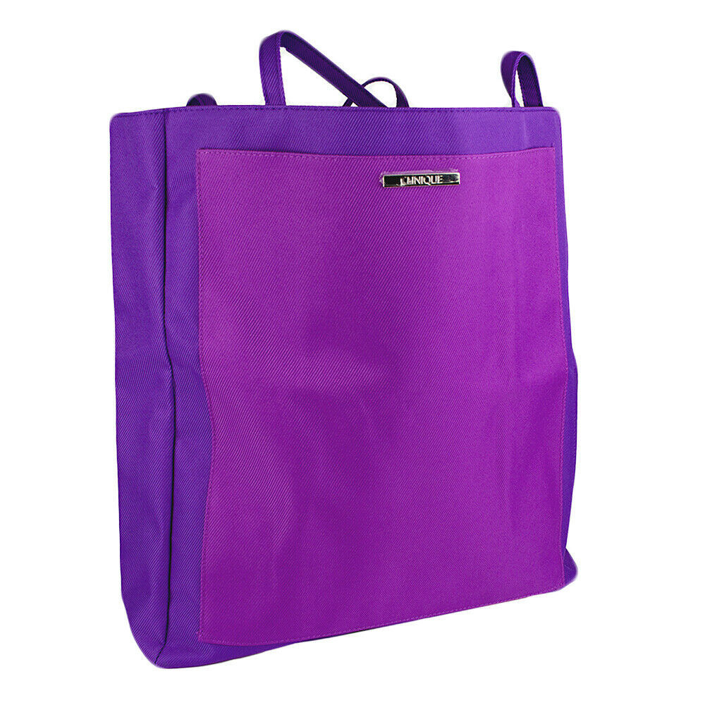 Clinique Solid Purple with Front Pocket Beach Tote Bag - $9.00