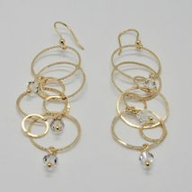 EARRINGS HANGING 925 SILVER LAMINA GOLD CIRCLES BY MARY JANE IELPO MADE IN ITALY image 4