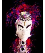 Art Deco style statue - HUGE headress - purple collar - vintage feather ... - $145.00