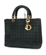 Authentic CHRISTIAN DIOR Black Quilted Nylon Lady Dior Handbag Purse #38095 - $419.00