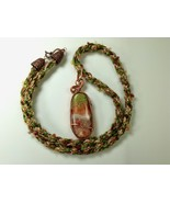 Necklace 27 Inches Wire Wrapped Handmade Polymer Clay Pendant Kumihimo B... - $44.99