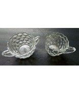 Hazel Atlas Glass Cube Pattern Clear Glass Creamer and Open Sugar Bowl -... - $14.84