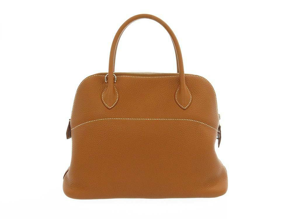 HERMES Bolide 31 Taurillon Clemence Gold 2Way Handbag Shoulder Bag #T Authentic image 2