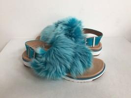 Ugg Holly Enamel Blue Fluffie Sheepskins Strap Slippers Us 7 / Eu 38 / Uk 5.5 - $91.63
