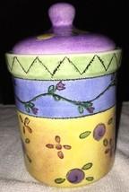 Retired SUE ZIPKIN Tea CANISTER w/ LID Sweet Shoppe SANGO Small MINT Cer... - $19.79