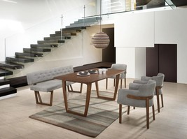 VIG Modrest Jordan Modern Walnut & Grey Fabric Dining Set w/Bench 6 Pcs