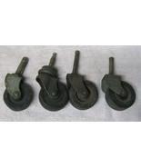 """Lot of 4 Vintage Industrial Medium Metal Castors Wheels 1 7/8"""" Wheel NIC... - $19.80"""