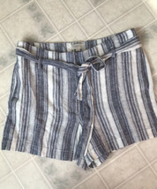 LOFT Ann Taylor Sz 6 new! Shorts Tie Paper Bag Waist Blue Stripe Linen B... - $23.19