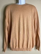 Hickey Freeman Men Size L Peach Sweater Italy Made Light Knit - $22.32