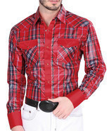 Western Shirt Long Sleeve El General 100% Polyester Color Red - $29.99