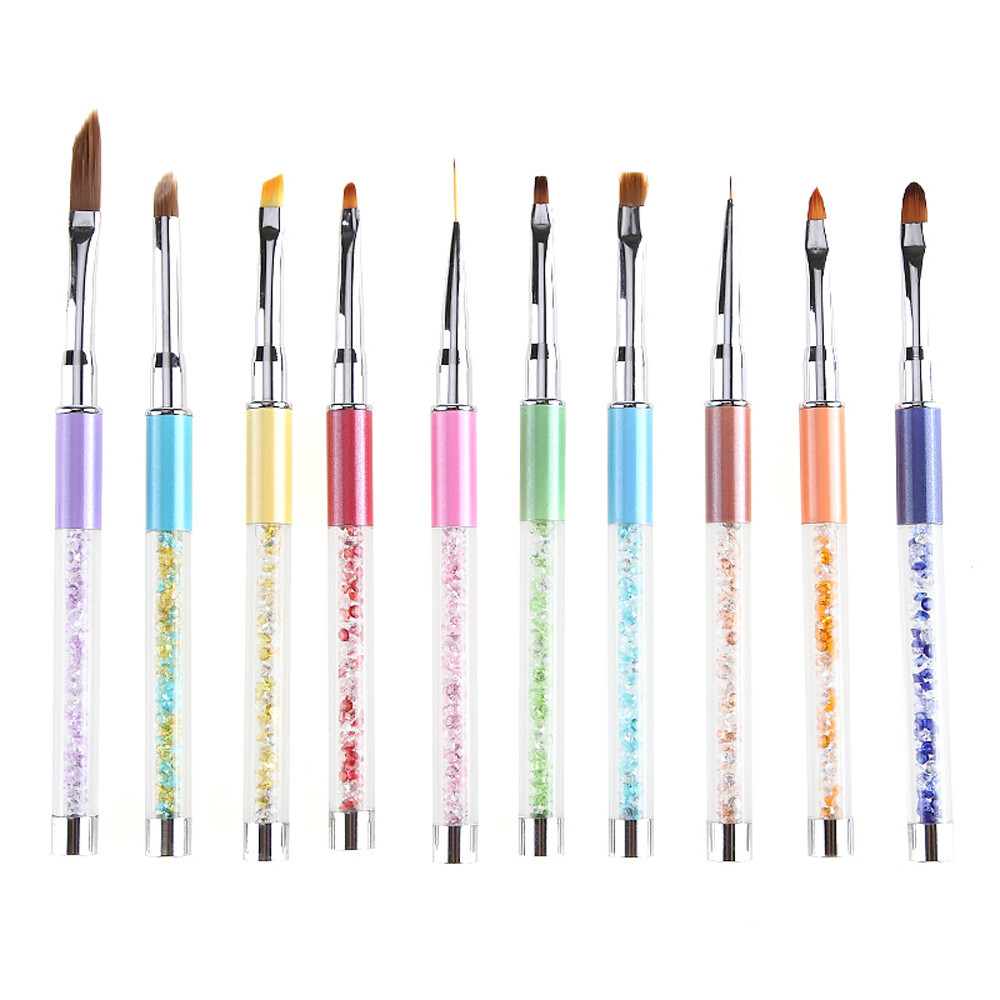 BAHYHAQ - 10 Colors UV Gel Pen Nail Art Carving Pen Brushes Acrylic Handle