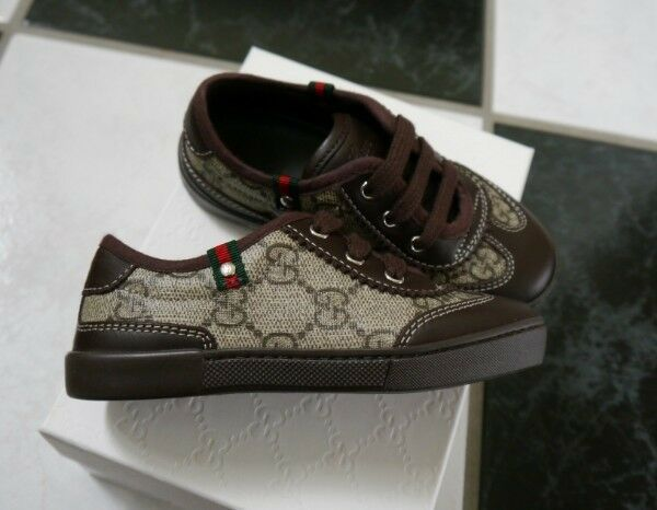 NIB 100% AUTH GUCCI 285696 KID'S Brwon lace-up trainer sneaker Shoes SZ 22/US 6