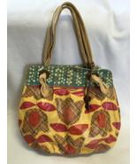 Fossil KeyPer Yellow Plaid Tulip Coated Canvas Purse Bag Tie Handles Key... - $19.99