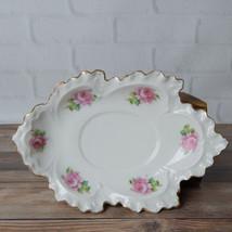 Vintage Rose Trim Scalloped Edges Serving Trinket Dish 1025 - $14.99