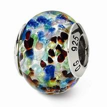 Sterling Silver s Silver/blue/red Italian Murano Bead by Reflection Beads - $25.26