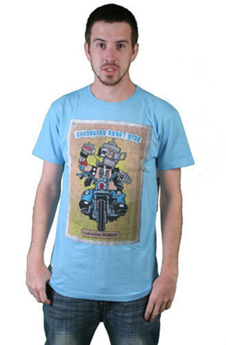 Cardboard Robot Mens Light Blue CBR Kids Beer Drinking Motor Cyclist T-Shirt NWT