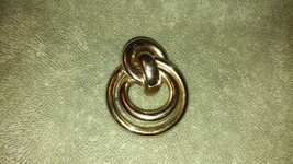 Vintage Monet signed large gold tone brooch/pin double knot piping scarf... - $8.99
