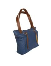 Blue Leather Shoulder Bag, Casual Leather Purse w/ Fringe, Kenia - $103.49
