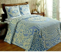 Better Trends Florence Chenille Tufted Bedspread Blue Sz Full - $74.04