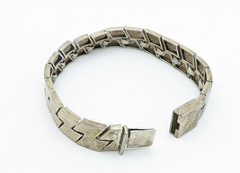 925 Sterling Silver - Vintage Smooth Z Designed Link Chain Bracelet - B6006 image 2