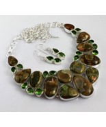 Bumble Bee Jasper-Peridot Silver Overlay Jewelry Necklace 90 Gr. F-535-19 - $47.52