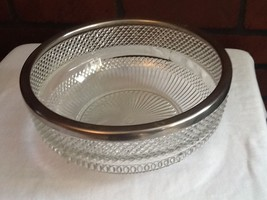 Cut Glass Bowl with Silver-Plate Rim - England - $10.85