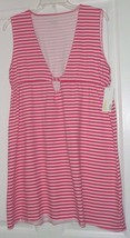 *CAPELLI NEW YORK COVERUP OR SLEEP SHIRT TUNIC SIZE S - XL RED WHITE STR... - $15.99