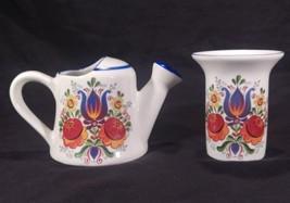 Reutter Porzellan Porcelain Watering Can Pitcher Vase Floral Colorful Folk Art - $29.08