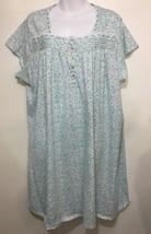 Eileen West Womens 3XL Green Blue Floral Cotton Blend Nightgown Knee-Length - $67.13