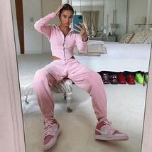 Two PieceTracksuits Women Sport Sexy Suit Hooded Short Slim Coat Long Pants R image 3