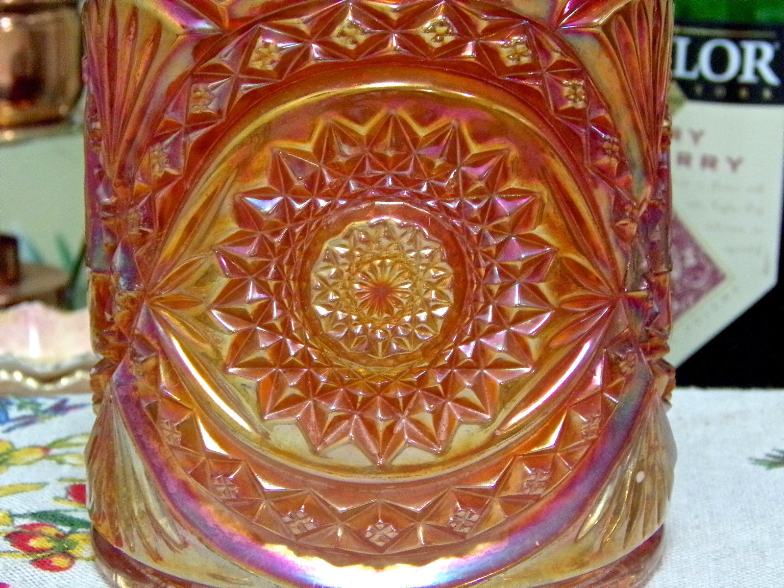 Imperial Hobstar Marigold Carnival Glass Cookie Jar And Lid