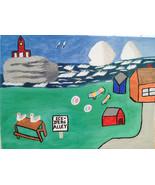 Ice-Burg Alley Newfoundland FREE S & H Folk Art Painting - $28.00