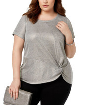 INC International Concepts Twist Front Top (Silver, 1X Plus) - $33.64