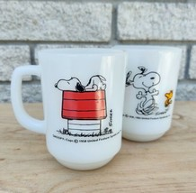 Milk Glass Snoopy Mug I Think I'm Allergic To Mornings Woodstock Pure Joy VTG - $70.13