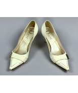 CRISTIAN DIOR White Ivory Leather Logo Kitten Heels Seam Women's Shoes S... - $98.00